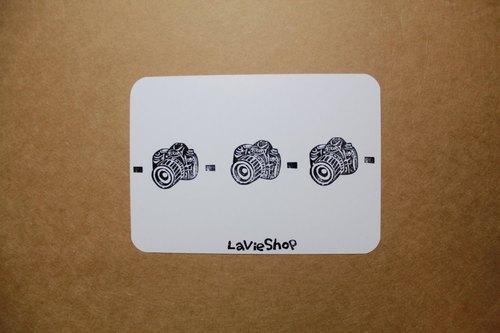 【LaVieShop*手作雜貨】相機排排站 Nikon 單眼相機 D90.手工刻印明信片/卡片.高質感防水相紙