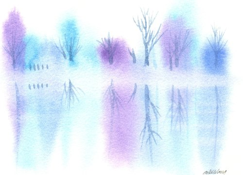 """圣诞卡片""""疗愈系树林系列1-37""""水彩手绘限量版明信片"""