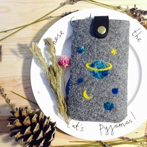 星星月亮小星球  手工羊毛氈手機/相機包