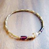 ♦ViiArt♦流轉-紅♦石榴石珍珠黃銅手環