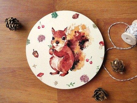小动物圆滚滚陶瓷杯垫 / 森林松鼠