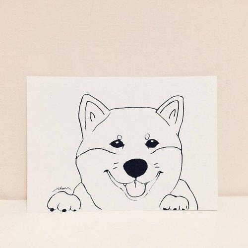开心果柴犬 手绘明信片