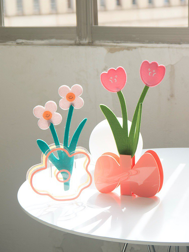 Tulip double-headed flower wool felt flower decoration fragrance card Tanabata Valentine's Day gift