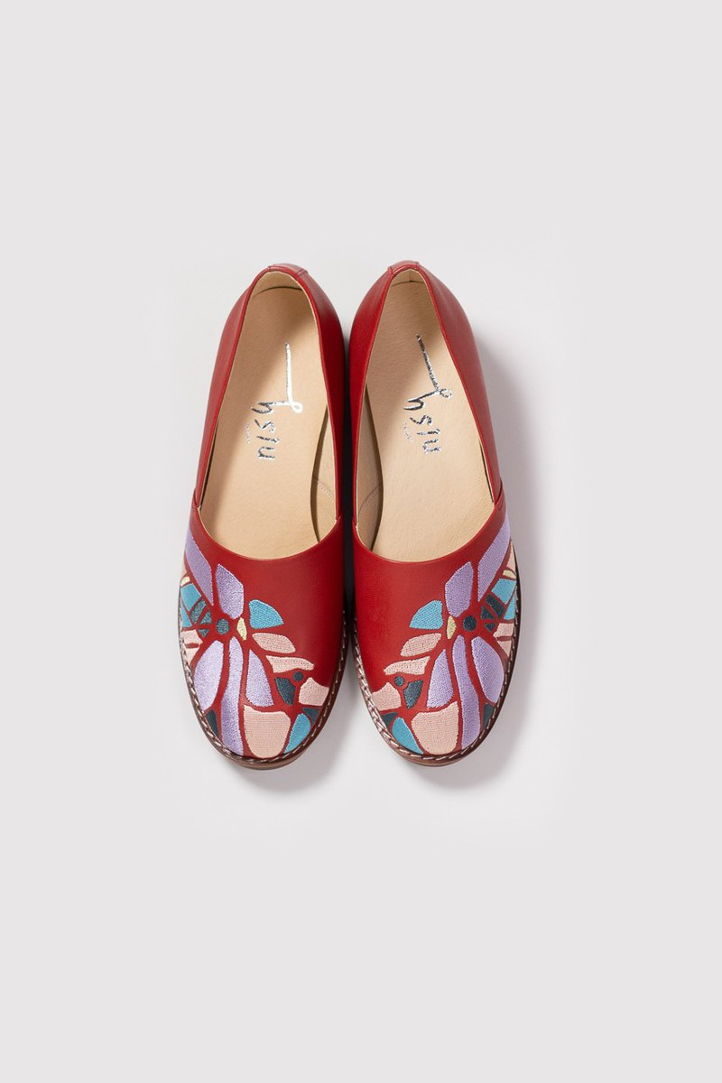Cutout shoes - embroidered handmade low heel women's shoes - wine red
