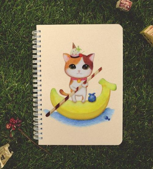 chinchin 手绘猫咪笔记本 - 香蕉圣代 (赠明信片)
