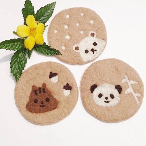 手工制作 咖啡拉花杯垫 松鼠 北极熊 熊猫