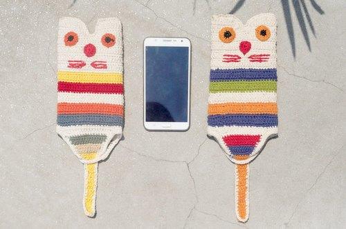 情人节礼物 手工限量 手感编织棉线手机袋 / iphone手机套 / 肩背包