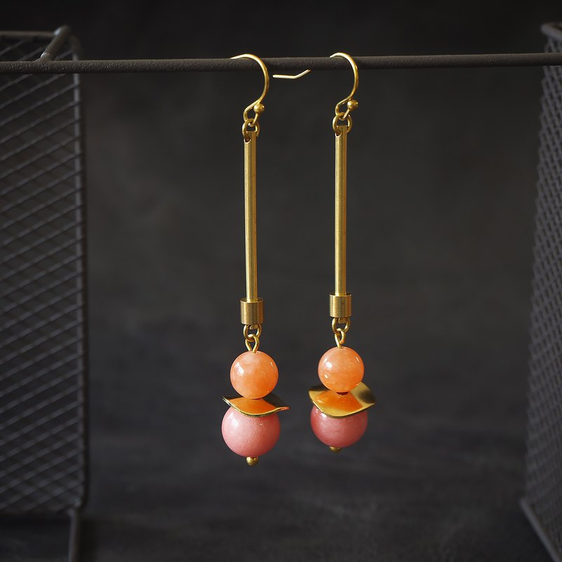 Coral tone pendulum style earrings (limited edition)