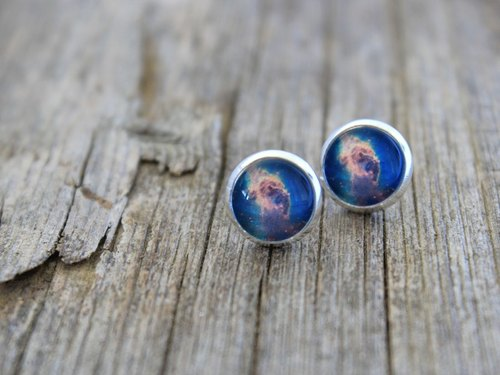 Carina Nebula, Nebula, Nebula Earrings, Nebula Studs, Space Earrings, Space Studs, Constellation Earrings, Galaxy Earrings, Blue Nebula