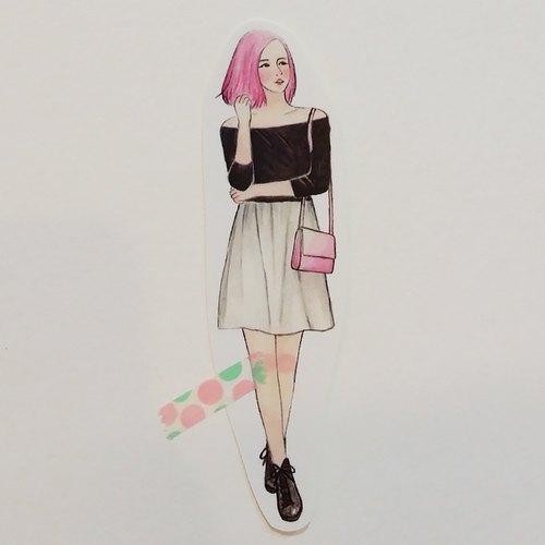 ✦粉紅短髮黑色緊身衣女孩 / 全身單張貼紙