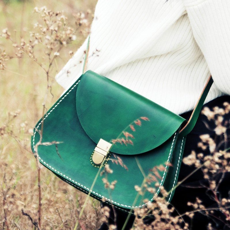 [Tangent School] Christmas Green Special-Pure Hand-dyed Hand-sewn Vegetable Tanned Leather Saddle Bag Lady Shoulder Bag