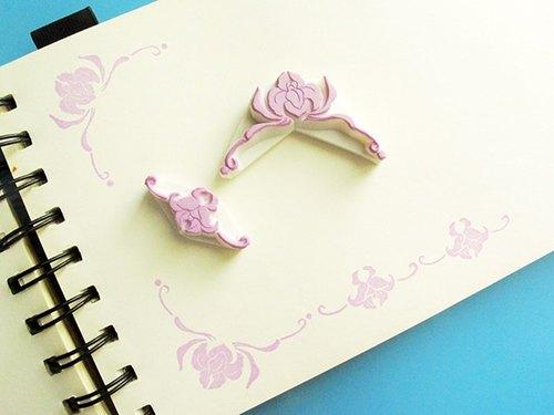 apu手工橡皮章 实用优雅兰花角花 花边印章 2枚组 手帐印章