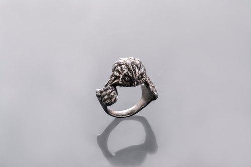 silver zodiac collection ring 925纯银立体猫头鹰头像戒指 | 男女装