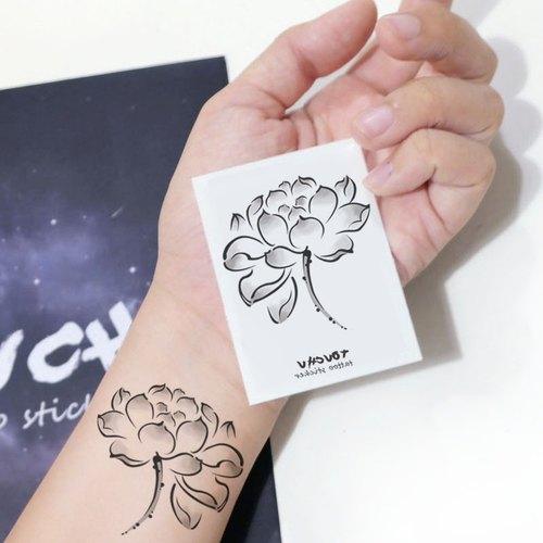 tu纹身贴-水墨荷花/刺青/防水纹身/原创/纹身贴