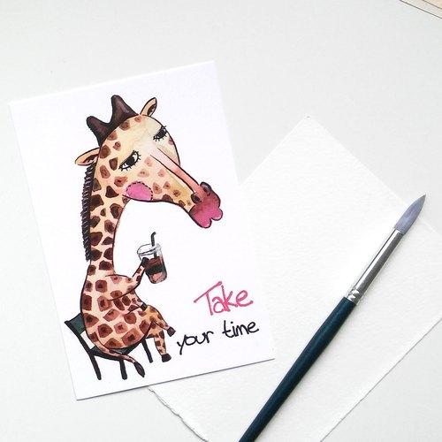 长颈鹿明信片-手绘