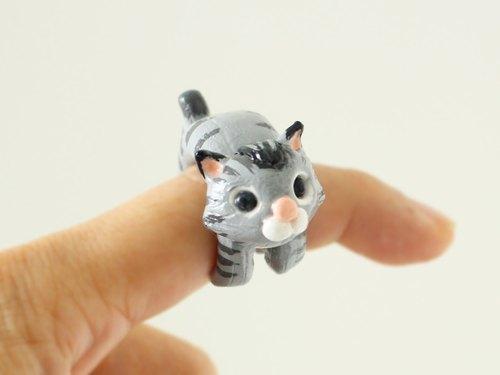 花纹猫指环 - 软陶立体手工戒指