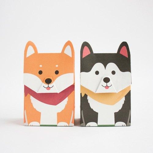 动物礼物包装纸袋- 柴犬哈士奇 (s尺寸)