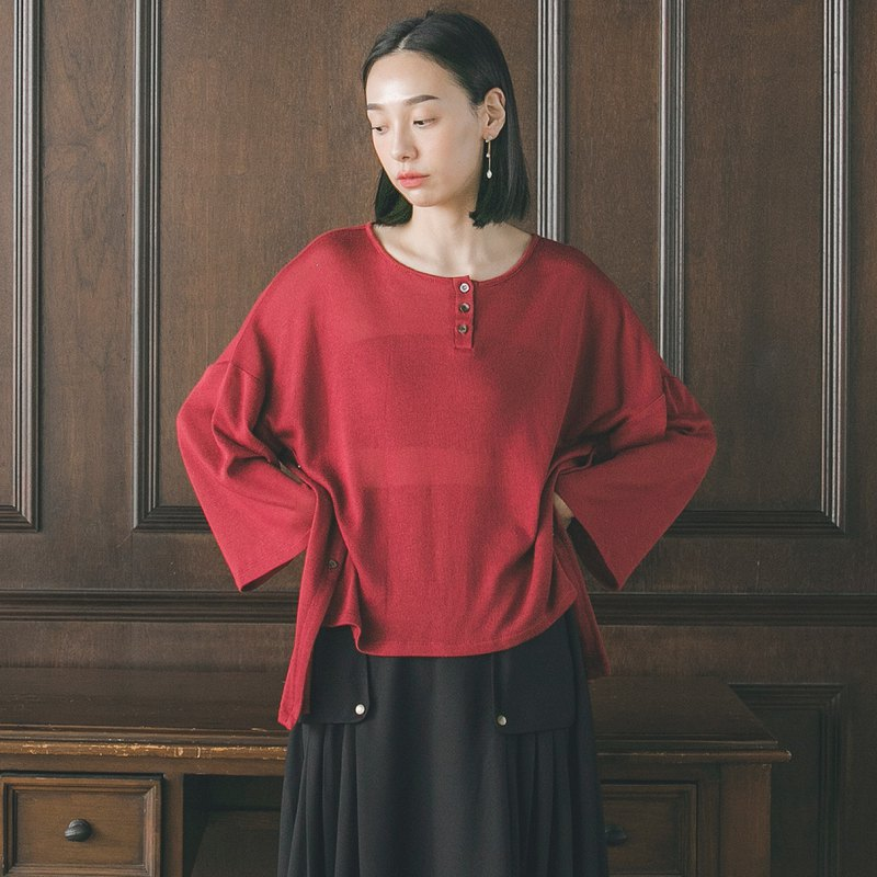 Belong_attribute double slit top_9AF005_autumn and winter_red