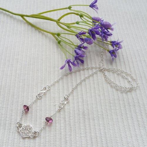 古风缕花纯银项鍊 (紫色)