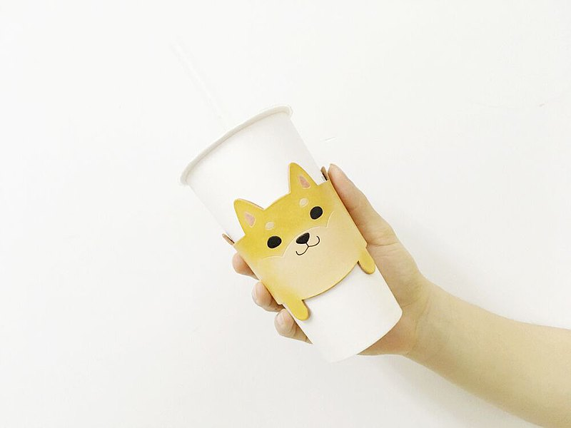 2way cute Shiba Inu eco-friendly beverage bag/ vegetable tanned cowhide milk tea cup holder/ puppy eco-friendly bag