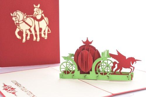 3d手工创意南瓜马车万用立体卡片系列 - 3d艺风馆