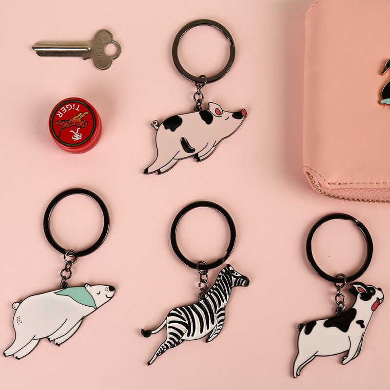 Flying animal key ring creative key chain pig polar bear zebra horse fighting dog cute couple metal