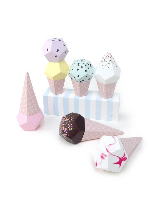 Paper Ice Creams - 3D Paper Craft, Ice Cream Party decor, Paper Sculpture templates, Paper Toys, Party Photobooth prop
