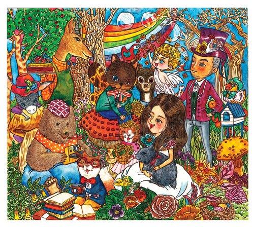 水彩手绘插画 | 原稿 | 画作 | 挂划 | 装饰画【茶会】