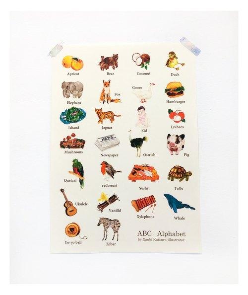 abc alphabet手绘水彩字母海报 - 良心猫罐头xanbi