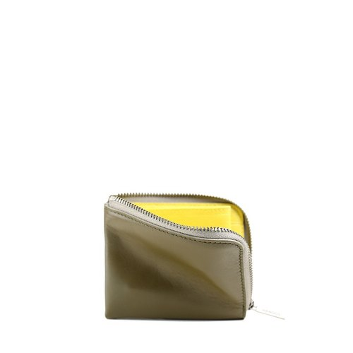 HANDOS 雙色牛皮短夾-橄欖綠x黃