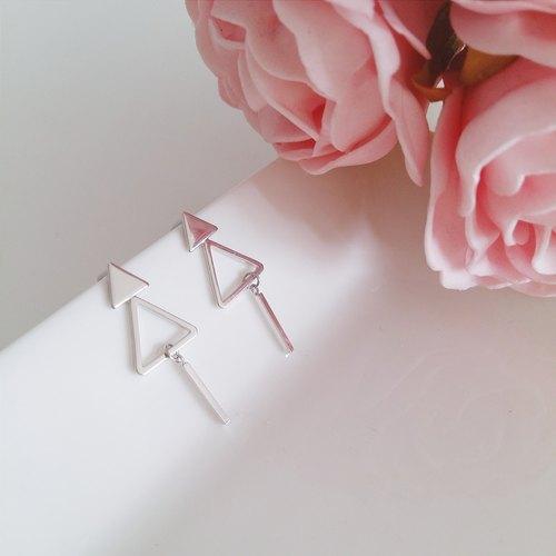 极简几何系列:: 简约个性几何三角形圣诞树耳环
