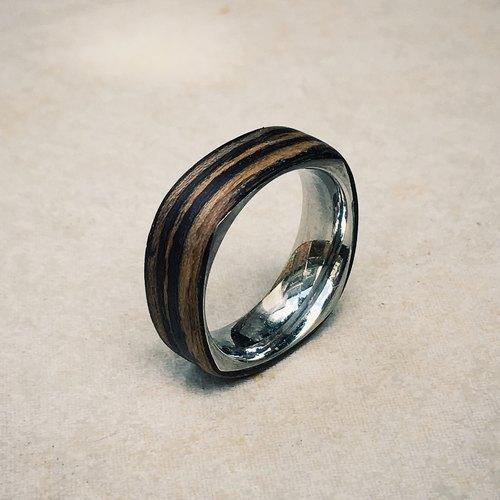黑檀木方形钢戒