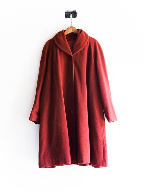 河水山 - 高知砖红色欧式少女 伞状 羊呢古董毛质大衣外套 羊毛 毛呢