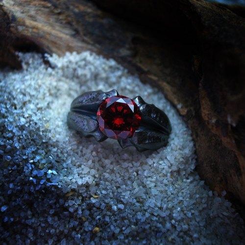 能神系列-【黑帝斯】 重銀版純銀戒指(限量版/紅鋯石/寬版戒指/希臘神話/尾戒/對戒)