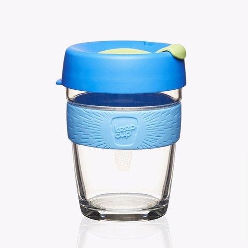 340cc【環保隨行杯KEEPCUP】(愛琴海藍色)澳洲正品 KeepCup 玻璃雕刻咖啡隨行杯 12oz咖啡杯