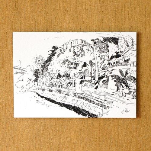 【一色】系列手繪風景明信片『台灣 ‧ 寶藏巖』