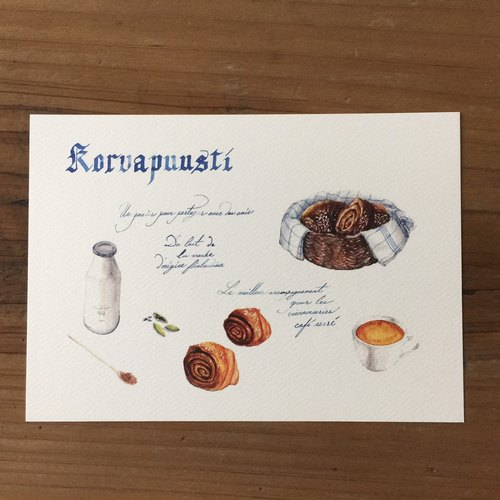 飲食與旅行手繪明信片-肉桂捲