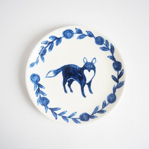 手绘6吋蛋糕盘/餐盘-森林好朋友/狐狸