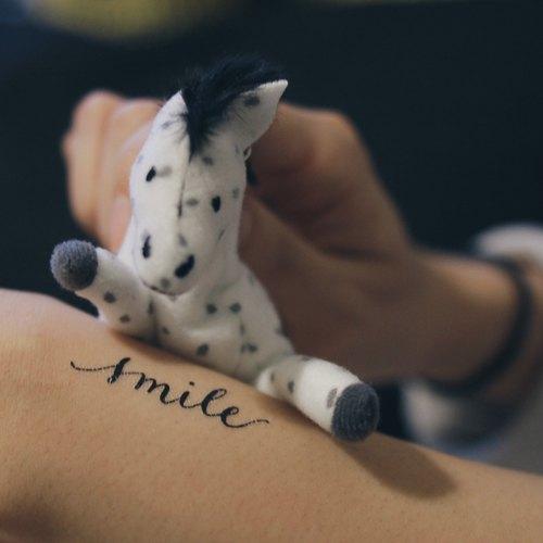 cottontatt smile 手写书法 纹身贴纸