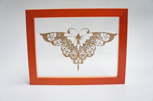 木刻镂空蝴蝶雕刻相框
