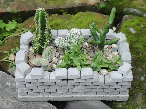 城堡 水泥盆器 植栽 布置 療癒 綜合 仙人掌 組盆 盆栽