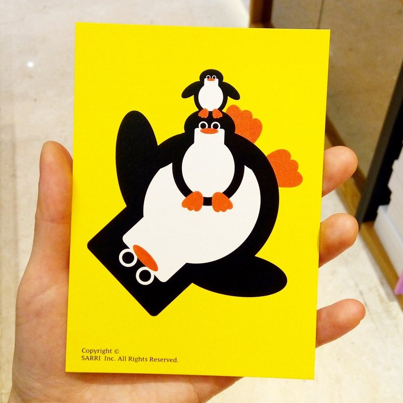 Penguin Family Postcard Birthday Card Design Coloring Illustration