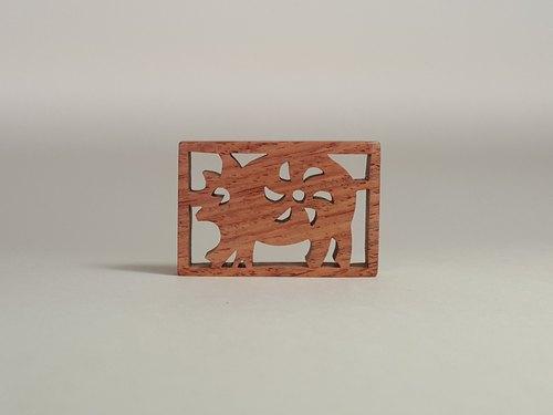 12生肖 猪 钥匙圈/吊饰 原木手工制作 - 小木森林