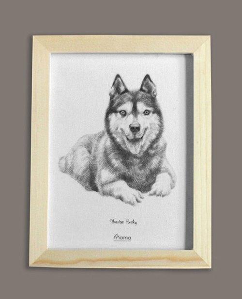 marytown原创设计 素描小狗-哈士奇手绘装饰画