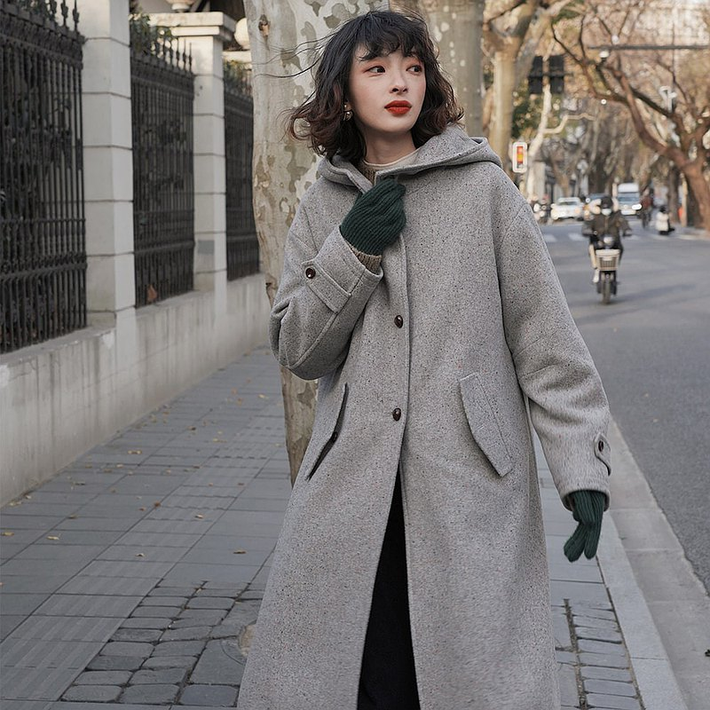 Gray two-wear wool coat | Detachable liner | Spring and winter models | Wool | Sora-666