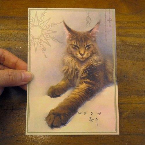 可愛貓咪療愈系緬因貓插畫明信片~藍藍