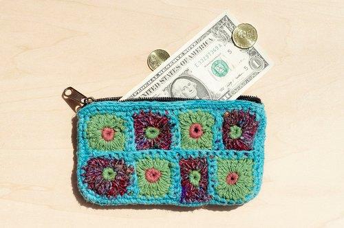 限量一件 手工钩针编织长方形零钱包 / 收纳包 / 化妆包 - 天空蓝纱丽