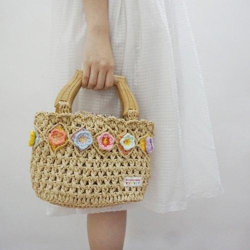 独立原创·钩织系列 立体钩花拉菲草线手提包 - rita