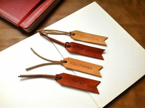 纖維手作  植鞣皮革書籤  可客製英文字
