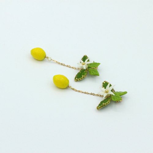 pamycarie夏日树枝黏土柠檬植物耳环套装